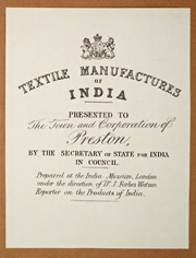 Frontispiece from The Textile Manufactures of India. © Harris Museum & Art Gallery.